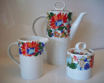 Porcelana Flower Tea Pot and Creamer and Sugar Set by Schmidt S. Catarina, Made in Brazil