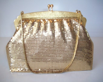 Gold Metal Mesh Handbag by Droton West Germany