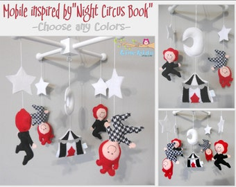 "Baby Crib Mobile-""Night Circus Book"" inspired Mobile-custom Aerial Artist Mobile-Circus Mobile-Acrobats Mobile"