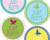 ADD ON Just Born Stickers for Baby, Just Born Stickers  - Butterfly Girl - Just Born Stickers -Baby Shower Gift - Baby