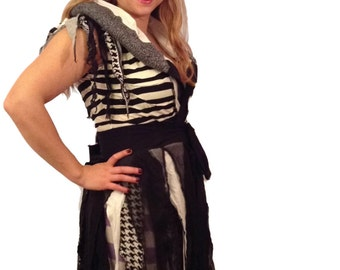 "NEW Black and white tattered upcycled burning man outift ""Opposites attract"" by HopeFloatsUpcycled"