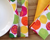 cloth napkins  - cheery citrus print and yelllow solid - double sided -  6 for 30
