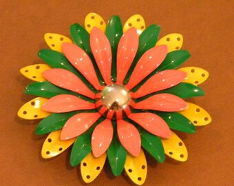 Large  Golden Yellow, Green and Orange Daisy Enameled Flower Brooch