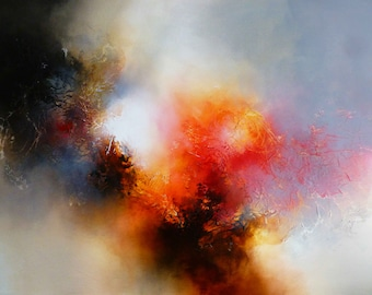 "Large Canvas Abstract Painting by Artist Simon Kenny "" Vestige"""