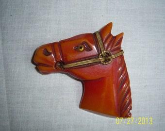 Vintage Bakelite Carved Horse Head Brooch Pin  -  Caramel Bakelite Figural Horse Head Pin