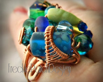 Sculpture Ring with Handmade Pet CREMATION Glass Beads/ Memorial Ring /SAMPLE/ Price is APPROXIMATE