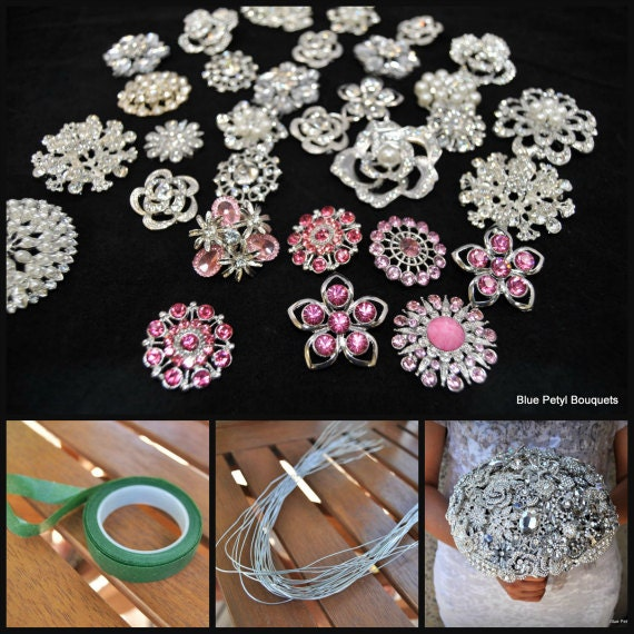 DIY Brooch Bouquet Pink Kit 35 Pieces SMALL by BluePetyl ...