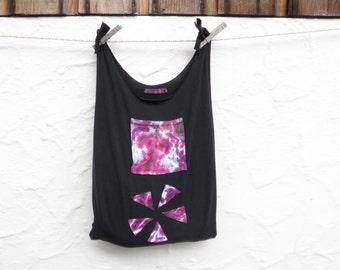 Reusable Grocery Bag Produce Shopping Compact Fold Up Purple Black Tie Dye Pocket T-Shirt Bag