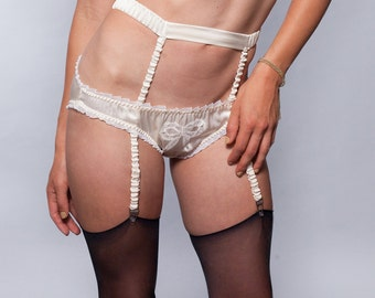 Garter Belt Silk Suspender Lingerie / Ivory Bride White Wedding - DECO GARTER BELT Ready-to-Ship
