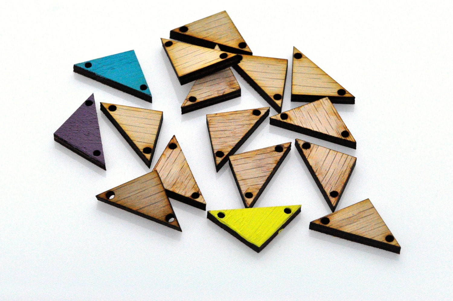 12 Laser Cut Wood Triangles Unfinished Wood Triangles Tile for