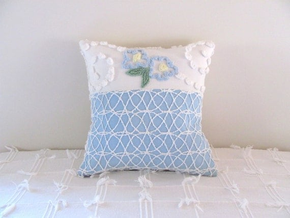 Reserved for L FORGET ME NOT handmade vintage chenille pillow cover 14 X 14 floral cushion cover