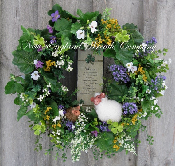St Patrick's Day Wreath. Shamrock, Irish Sheep, Irish Wreath, Spring Wreath, Floral Wreath, Woodland, Rustic Irish Décor