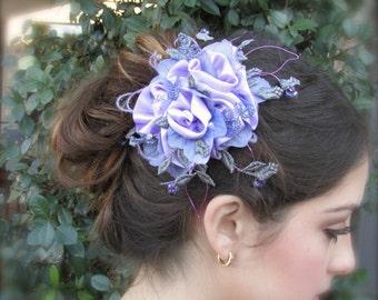 Wedding headpiece gorgeous Lilac roses hair clip