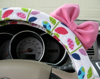 Steering Wheel Cover Bow, Multicolor Patchwork Leaves Steering Wheel Cover with Pink Bow BF11042
