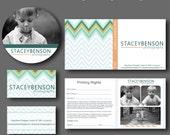 INSTANT DOWNLOAD : Multi Colored Chevron Mini Photography Branding Set
