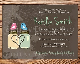 Birds and Mason Jars Bridal Shower Invitation,Vintage Mason Jar Invitation,Birds, Gray, Brown, Mason Jars, Mason Jar Wedding, 5003