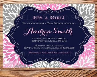 Baby shower invitation, floral baby shower Invitation, boy, girl, baby Shower Invite, navy, blue, pink, gray, 1106