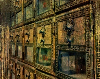 Fine Art Photograph of Vintage Brass Mailboxes.  This is a color photograph.
