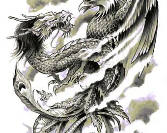 A4 Dragon Phoenix Japanese Tattoo Art Print Cathy FitzGerald