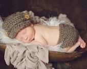 Barley Newsboy Hat & Diaper Cover - Newborn Crocheted Photography Prop - Baby Boy sizes 0-3 3-6 6-12 mos brown beige neutral