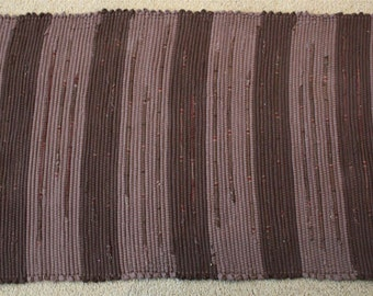 Handwoven Rag Rug - Chocolate Brown Flannel with Brown Mocha Stripes - 43 inches ... (#27)