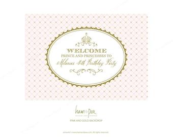 Princess Pink and Gold Royal backdrop (PDF printable file only)