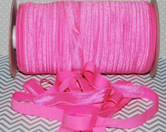 "Hot Pink  FOE Fold Over Elastic -5 yds - Hot Pink 156 - Shiny FOE 5/8"" inch Baby Headbands Hair Ties Satin Elastic Soft Elastic FOE 15mm"