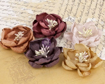 """2"""" Fabric flowers vintage assorted colors Fall floral Serenity 571375 -(5 pcs) flower embellishment - brown burgundy tan mustard & pale pink"""