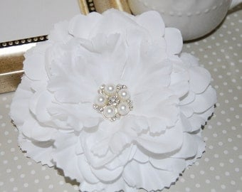 "White Fabric Flowers Large 4.5"" silk flower with crystal pearl center floral corsage flower DIY hair flower headband flower Nancy Collection"