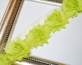 Apple Green Shabby flower trim - Shabby Chic Frayed Vintage look Chiffon Rosette Flowers SMALL 3cm - 1/2 yard length with 11 flowers