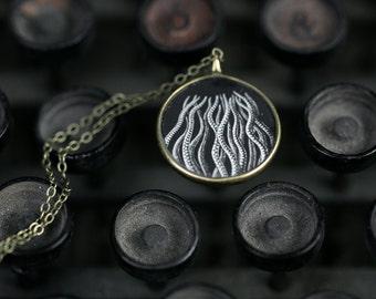 Ernst Haeckel Necklace - Miniature Pendant - Vintage Typewriter Key Inspiration - Glossy Resin Charm