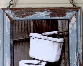 rustic  New toilet salvage toilet ed  rustic .repurpos Orleans sign  cottage art wood