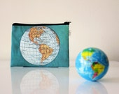World Map zipper pouch printed with an old map of the world