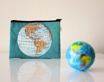 World Map zipper pouch, Clutch purse, Women's wallet, printed with an old map of the world