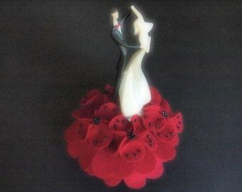 Wedding Cake Topper Bride and Groom Red Black