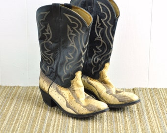 Vintage Cowboy Boots Snakeskin Western Mens Boot Shoes Size 9D Womens 10 1/2 Acme Royals Western Wear American USA Made
