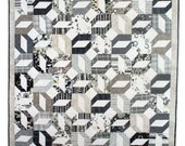 Contemporary geometric quilt in modern black, white and taupe cotton