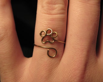 Wire Wrapped Small Paw Print Adjustable Ring MADE TO ORDER