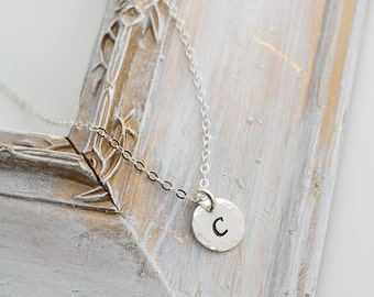 Sterling Silver Initial Necklace - Bridesmaid Gift - Personalized Necklace - Everyday Necklace