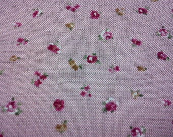 Tiny rose, pastel pink, fat quarter, cotton and linen blended fabric