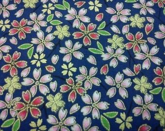 Japanese sakura, gold metallic, dark blue, fat quarter, pure cotton fabric