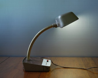 Vintage Gooseneck Desk Lamp - Mark's Deluxe - Bronze and Faux Bois - Mid Century - Industrial