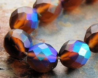 Czech Glass Beads in Brown Matte AB Finish 12mm faceted round   -22