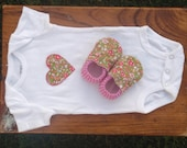 Baby Girl Gift-Set - Heart-Appliqued Bodysuit with Matching Booties - Made-to-Order Sizes 0-24 Months