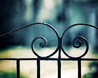 "Gate Photography, dark wrought iron fence blue architectural old black photo architecture wall art print, 8x10 Photograph, ""GateKeeper"""