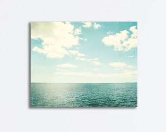 "Ocean Canvas Wrap - light blue seascape photography canvas print beach landscape sea white pale blue wall art photograph - ""Sea of Reverie"""