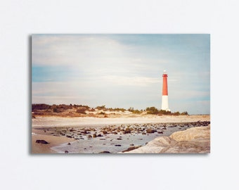 """Lighthouse Canvas Wrap - barnegat light house new jersey shore coast blue brown red coastal wall print gallery - 24x36, 20x30, """"Old Barney"""""""