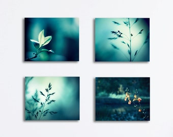 Teal Canvas Print Set - nature dark aqua turquoise photography canvas gallery wrap modern wall art wrapped canvas decor fine art photograph