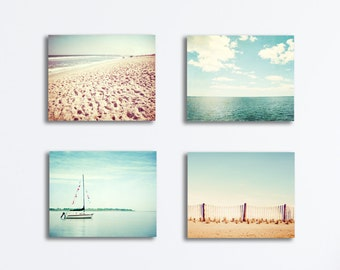 Beach Canvas Set - four coastal photography canvas gallery wraps light blue aqua teal beige cream ocean nautical wall art canvas print set