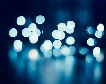 """Blue Photography, lights picture navy bokeh dark blue print sparkle wall art sparkly abstract circles photo white, """"Illuminating the Night"""""""